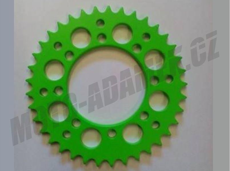 Pitbike rozeta na řetěz zelená neon 420/37 zubů Alu slitina 7075 T6