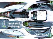Sada plastů pitbike TTR s polepy MONSTER energy