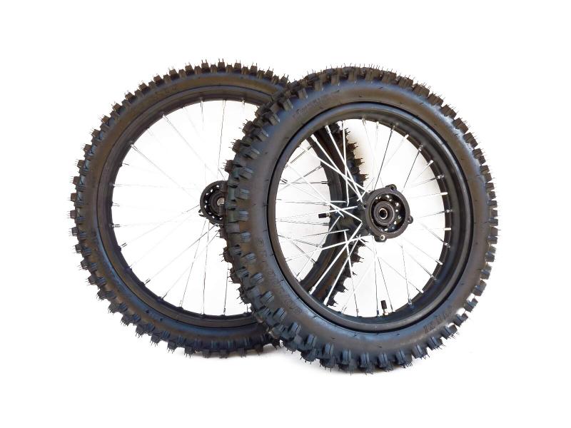 pitbike přední kolo 19palců a zadní kolo 16palců s pneu Stomp, DemonX, WPB